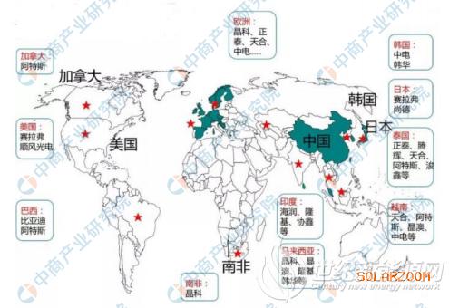 2020年中国光伏企业海外市场布局地图